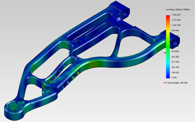 Front wishbone deformation & stress analysis, front impact 2500N
